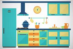 Link toBlue-green kitchen design vector