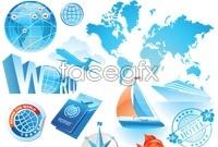 Blue leisure travel vector graphics