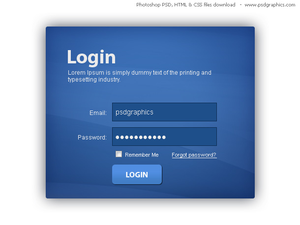 Link toBlue login box, html and css with psd template