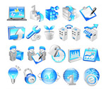 Blue orange business icons