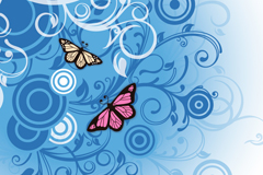 Link toBlue patterned with butterflies, vector