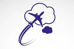 Link toBlue plane with the cloud logo design vector