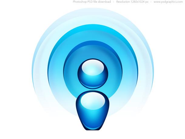 Link toBlue radio wave icon (psd)