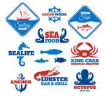 Blue sea product label vector