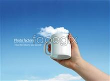 Link toBlue sky and white cloud cup psd