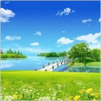 Link toBlue sky grass yellow bridges psd
