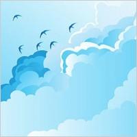 Link toBlue sky with birds vector
