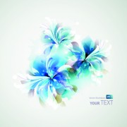 Link toBlue style watercolor flowers vector background 02 free