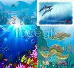 Blue underwater world vector
