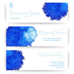 Link toBlue watercolor banner vector
