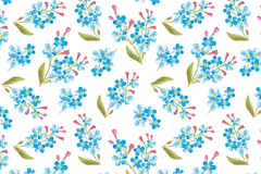Link toBlue watercolor floral seamless background vector