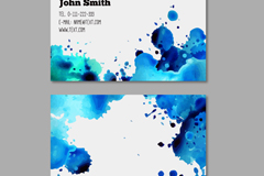 Link toBlue watercolor ink business cards vectors