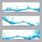 Blue wave banners vector
