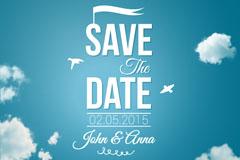 Link toBlue wedding invitation card vector