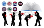 Link toBottle books and characters vector