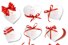 Link toBow, heart-shaped cards, vector