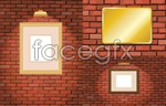 Link toBrick wall and photo frames vector