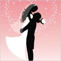 Link toBride and groom silhouette vector graphic