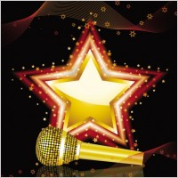 Link toBright background of the microphone 01 vector
