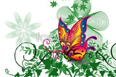 Link toBright beautiful butterfly plant pattern vector