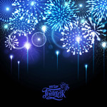 Bright blue fireworks vector