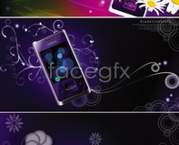 Link tovector circle gradient flower background phone mobile purple Bright