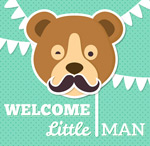 Link toBrown bear avatar baby cards vector