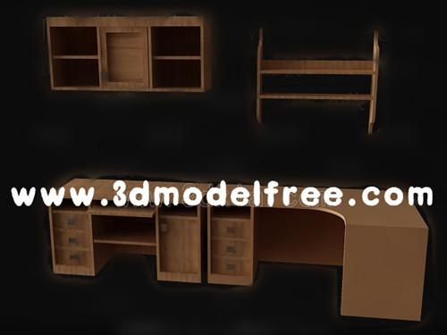 Link toBrown computer desk combination 3d model