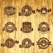 Link toBrown retro coffee labels vector free