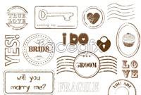Link toBrown romantic love stamp vector