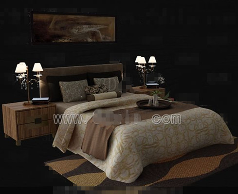 Link toBrown theme simple double bed 3d model