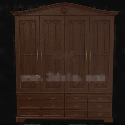 Link toBrown three layers drawers wooden wardrobe 3d model