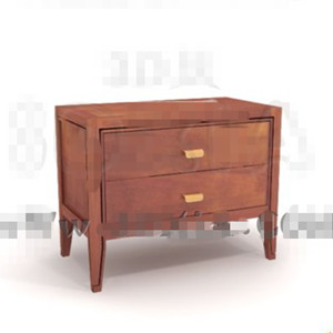 Link toBrown two-tier drawers bedside cabinet 3d model