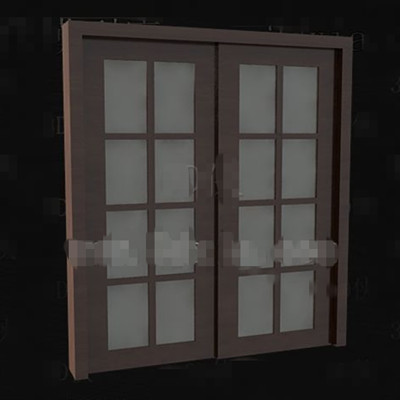 Link toBrown wooden glass doors 3d model