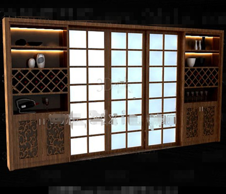 Link toBrown wooden japanese-style wine cabinet 3d model