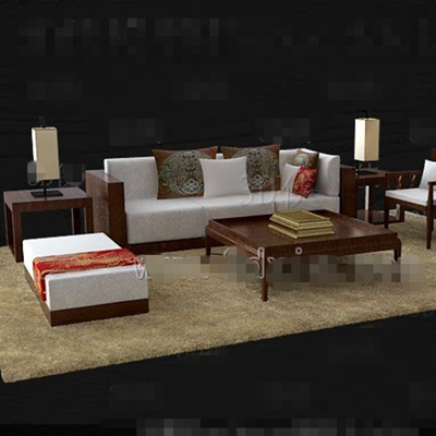 Link toBrown wooden white fabric sofa combination 3d model