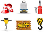 Builders ' topic icons vector