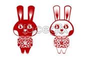 Link toBunny rabbit paper-cut vector