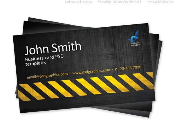 Link toBusiness card template, construction hazard stripes theme psd
