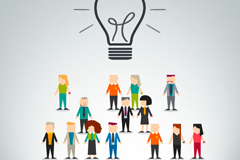 Link toBusiness crowd with light bulbs vector