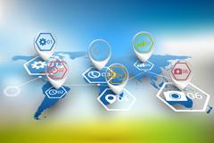Link toBusiness information maps world map vector