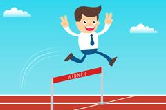 Business man success hurdling vector graphics