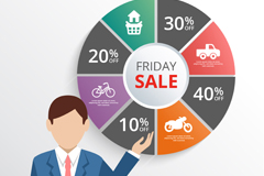 Link toBusiness man with friday sales charts vector