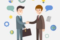 Business men shaking hands cartoon vector images