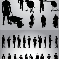 Link toBusiness people and workers in silhouette vector