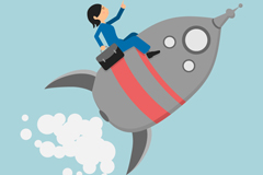 Link toBusiness woman by rocket vector graphics