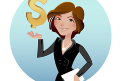 Link toBusiness woman with a currency symbol vector