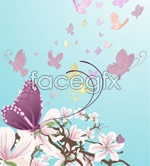 Link toButterflies and flowers vector