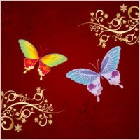 Link toButterfly and flowers vector