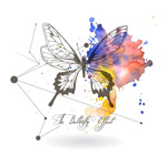 Link toButterfly watercolor and ink vector